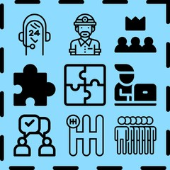 Simple 9 icon set of teamwork related [iconsRandom:4] vector icons. Collection Illustration