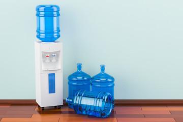 Water cooler with water dispenser bottles on the wooden floor in the room, 3D rendering