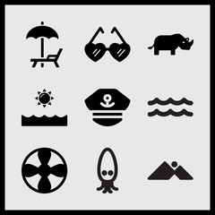 Simple 9 set of Summer related mountains and sun, propeller, sea and sun and rhino vector icons