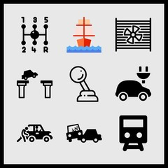 Simple 9 icon set of car related radiator, gearshift, sailing ship and car cut bridge vector icons. Collection Illustration