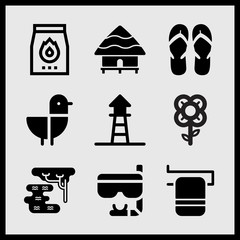 Simple 9 set of Summer related seagull, lifeguard, towel on rail and swamp vector icons