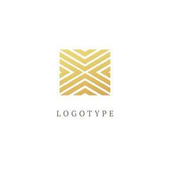 Vector modern luxury square logo design. Line art gold frame. Vintage premium design vector element.