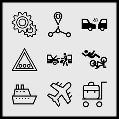 Simple 9 icon set of car related car repair, ship, route and gears vector icons. Collection Illustration
