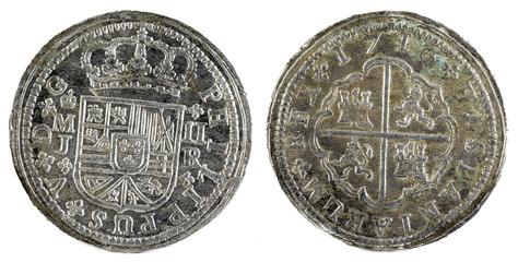 Ancient Spanish silver coin of the King Felipe V. 1716. Coined in Madrid. 2 reales.