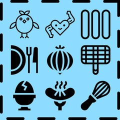 Simple 9 icon set of cooking related [iconsRandom:4] vector icons. Collection Illustration