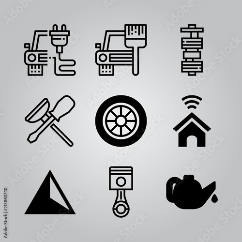 Simple 9 icon set of electronics related smart home, oil, repair and ...