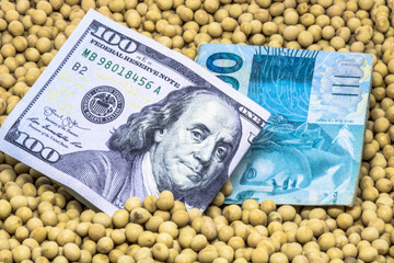 Agricultural concept, soybean at 100 US dollar and 100 Brazuilian Realbanknote