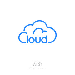 Cloud computing logo. Communication or network icon. Linear style. Monochrome option.