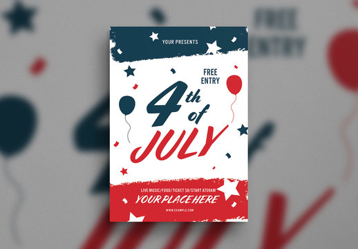 Fourth of July Party Flyer Layout