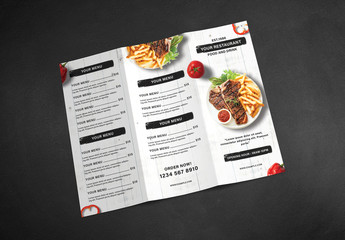 Trifold Restaurant Menu Brochure Layout