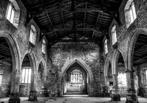 Inside an abandoned church