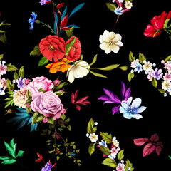 Seamless background pattern. Roses, poppy, cornflower, wild flowers on black. Watercolor, hand drawn.