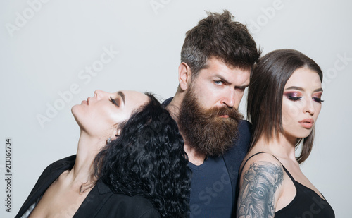 Hairstyle Concept People With Fashion Hairstyle Bearded Man And