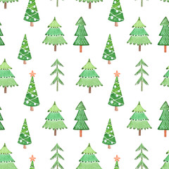 Seamless watercolor pattern from different green Christmas trees on winter holidays