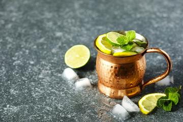 Copper mug of lemonade with mint