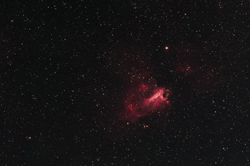 The Omega Nebula in the constellation Sagittarius as seen from Mannheim in Germany.