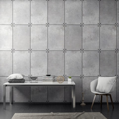 Interior of living room with concrete wall, 3D Rendering