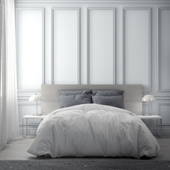 Interior of bedroom with classic wall, 3D Rendering