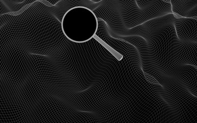 Abstract landscape on a dark background. Ready template. Cyberspace grid. Mockup. Search the web. Hi-tech network. 3D illustration