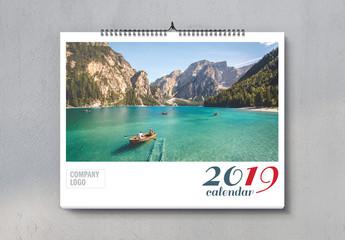 Landscape Wall Calendar 2019 Layout