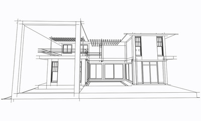 Abstract architectral drawing sketch,Illustration.
