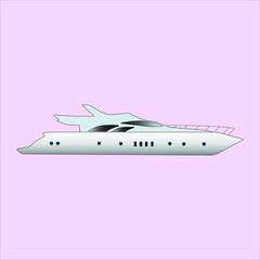 White Yacht Boat Vector