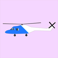 Blue and White Helicopter Vector