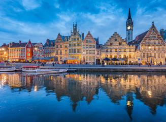 Twilight view of Ghent, Flanders, Belgium