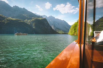 Traditional boat on Königssee lake in summer, Bavaria, Germany