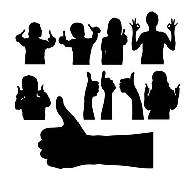 People with Thumbs Up Silhouette, art vector design