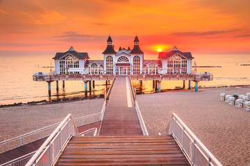 Seebrücke Sellin at sunrise, Ostsee, Germany