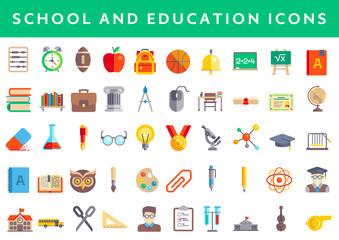 Set of modern flat design Education icons