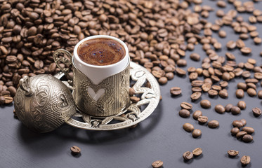 traditional turkish coffee and ottoman ornament coffee cup