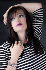 Girl in Black and White Model
