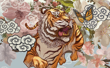Tiger and butterfly amid cherry blossom illustration