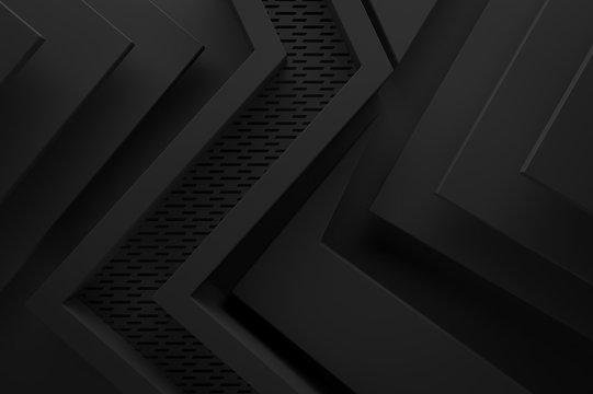 black dark graphic shape background 3d illustration