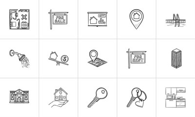 Real estate hand drawn outline doodle icon set. Outline doodle icon set for print, web, mobile and infographics. Real estate, property vector sketch illustration set isolated on white background.