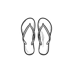 Pair of flip flop slippers hand drawn outline doodle icon. Summer vacation, sandals, holidays, shoe concept. Vector sketch illustration for print, web, mobile and infographics on white background.