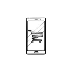 Shopping cart on mobile phone screen hand drawn outline doodle icon. App shop, e-commerce, online, sale concept. Vector sketch illustration for print, web, mobile and infographics on white background.