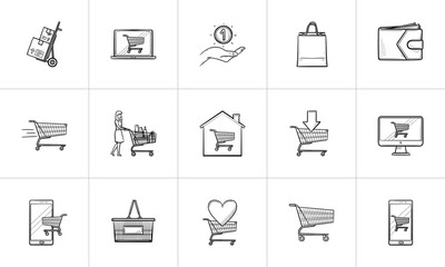 Online shopping and e-commerce hand drawn outline doodle icon set. Outline doodle icon set for print, web, mobile and infographics. Buying vector sketch illustration set isolated on white background.