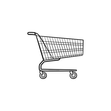 Supermarket shopping cart hand drawn outline doodle icon. Sale, business, e-commerce, market, trade concept. Vector sketch illustration for print, web, mobile and infographics on white background.