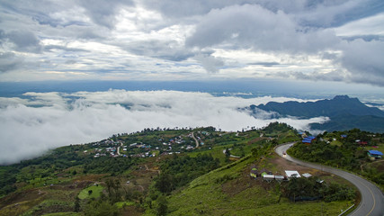 high angle view of phu tubberk most popular traveling destination in petchabun province north eastern of thailand