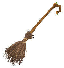 Old magic broom on which witch flies