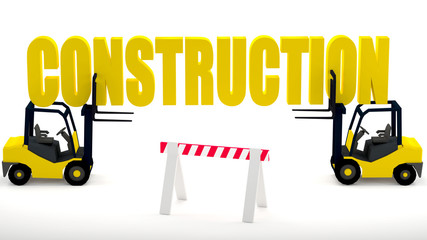 Construction site logo with forklifts and a construction barrier that symbolizes safety at the construction zone, 3d illustration