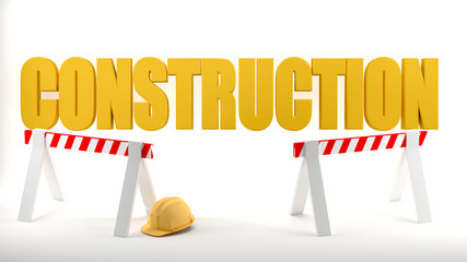 Construction site logo with hard hat and construction barriers symbolizes safety in a construction site, white background., 3d illustration