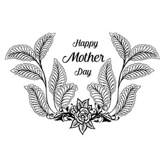 Happy Mother's Day text with flowers isolated on background