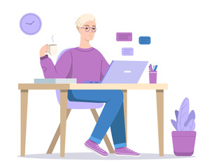 Man at computer vector illustration of boy texting in chat in laptop with coffee sitting at table. Cartoon designer, social media blogger or office manager in glasses at home or workplace