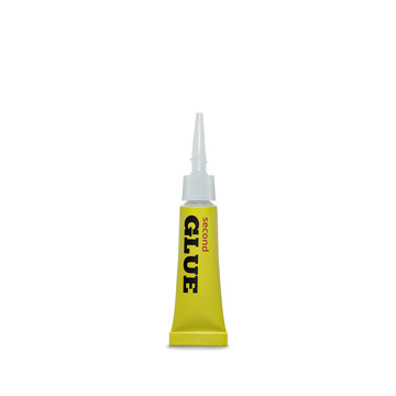 Super glue vector illustration of 3D realistic yellow metallic container of adhesive instant or second glue mock model isolated on white background