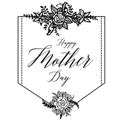 Happy Mothers Day. Hand drawn card. Vector illustration