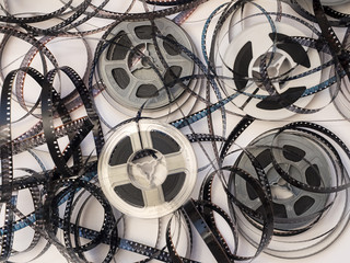 Overhead View Tangle 8mm Film and Reels